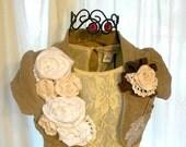 Shabby Chic Shrug Romantic Embellished Rose Wedding Bolero French couture Country chic Fall Jacket Feminine Shrug