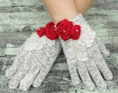Christmas Rose Gloves Shabby chic Rose applique embellished gloves Ladies Winter gloves Red Gray Ivory