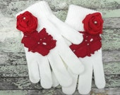 Victorian Rose Gloves French country Shabby chic Rose applique embellished gloves Ladies Winter gloves Red Ecru