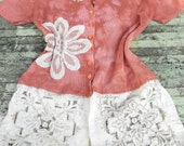 Upcycled Rose Sweater Hand dyed Vintage applique Cardigan Rustic ranch Shabby chic Gypsy Cowgirl Womens clothing