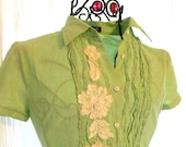 Upcycled Shabby chic Shirt Pastel Green rose applique J Crew Blouse Top Farmhouse Chic French Country Christmas Shabby Chic Small
