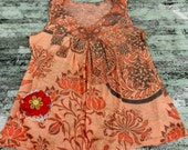 Boho chic shirt, bohemian girl, hippie chic top, womens clothing, upcycled, beach girl, summer clothing