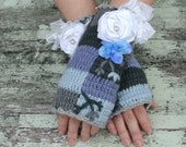 Romantic fingerless gloves, farm girl chic arm warmers, cottage chic, blue, womens accessories, rose embellished