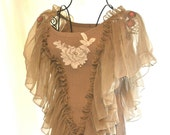 Romantic Paris Ruffle shirt Shabby chic french country Top Taupe gypsy cowgirl Ruffle sleeve Spring shirt Cottage chic LG