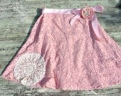 Vintage pink Lace skirt Hand dyed French market  English Country easter shabby chic pink doily skirtfull circle skirt Romatic paris clothing