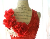 Poppy red embellished tank top, shabby lace, boho, womens clothing, paris boutique, cottage chic, floral