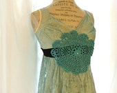 Upcycled lace shirt, shabby green tank, gypsy cowgirl top, cottage chic, embellished, womens clothing
