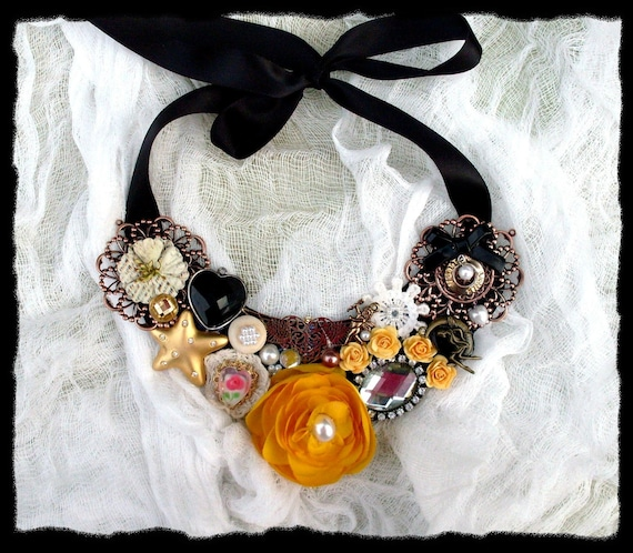 Black Heart Yellow Rose Statement Bib Collar Necklace Victorian Old Hollywood Glam French Market