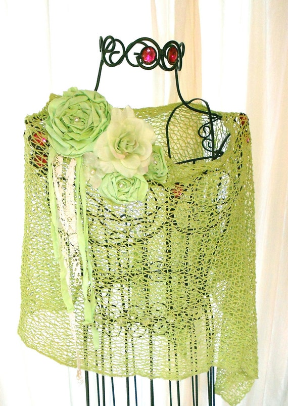 Summer crochet Shawl Shabby chic French Country Wrap Womens clothing Anthropologie style green English rose cottage