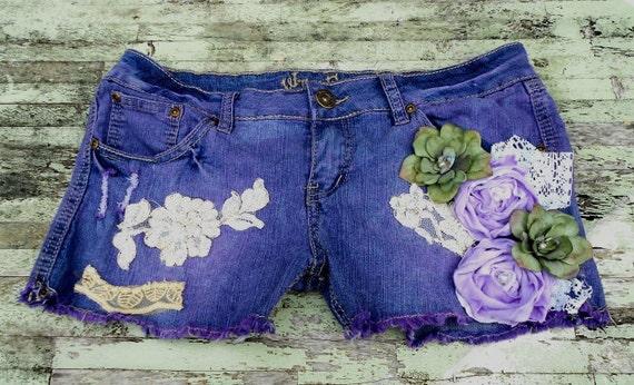 boho Chic Mori Girl Rose Shorts Purple Fairy sz 11 Woodland Flower embellished shorts Shabby chic Christmas gift