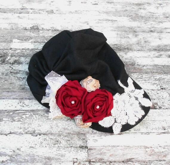 Urban Shabby chic Cap rose embellished Parisian newsboy cap rustic cottage chic red rose vintage applique Black winter hat