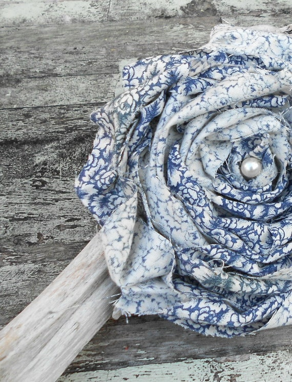 Romantic Country Farmhouse Brooch Shabby chic huge fabric rose French country blue Rustic Ranch Holiday Gift
