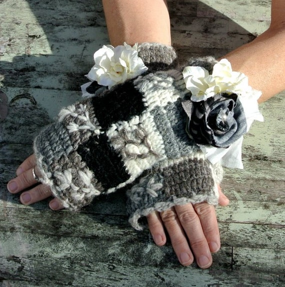 Pixie Rose embellished fingerless gloves Gypsy rose Earthy woodland accessories Womens Arm warmers Rustic Ranch wear