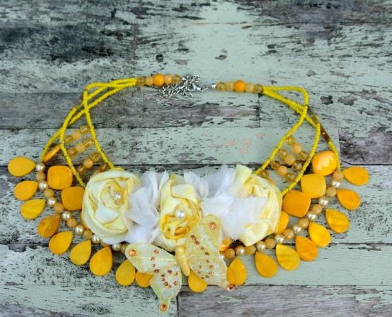 Shabby chic Funky Glam Chic Statement Necklace Valentine Love Bib Necklace Birthday Cake Roses Yellow Beaded French Market