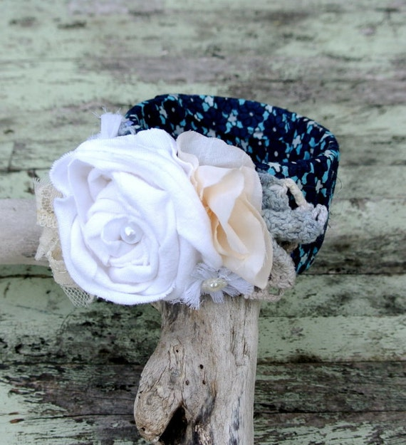 Gypsy Cowgirl Glam Bracelet Gypsy Rose Bangle Vintage style rosette doily lace wrapped Cuff Bracelet Country chic corsage