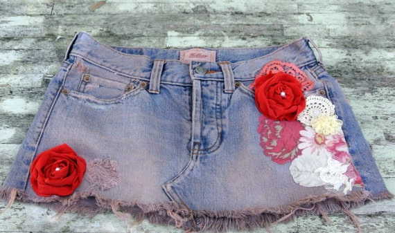 Country chic mini skirt, upcycled hollister skirt, cottage, farm girl chic, womens clothing, summer mini skirt
