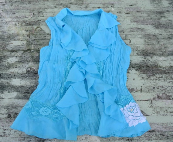 Upcycled Shabby chic Ruffle Shirt Spring teal Blue Lace crinkle ruffle top Cottage chic Rose embellished WOmens clothing Boho girl