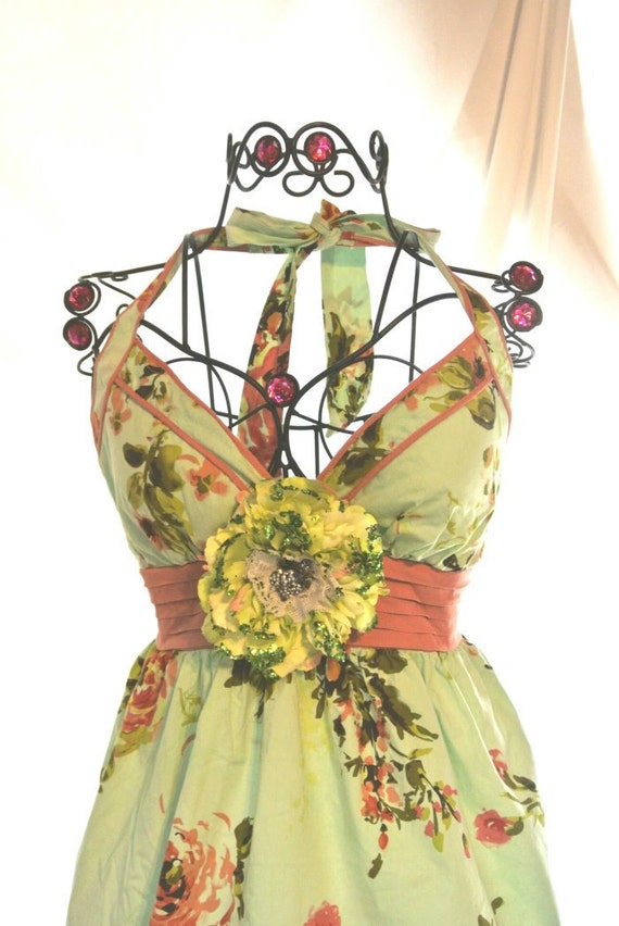 RESERVE for JENNIFER Spring French country Garden Party Dress Shabby chic Cowgirl Spring dress Chartreuse Cottage chic Girl floral
