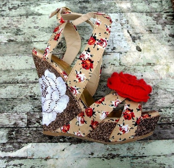 Womens french country wedge High heels Glittering brown red rose strappy heels 37  Cottage chic country girl Paris runway 7