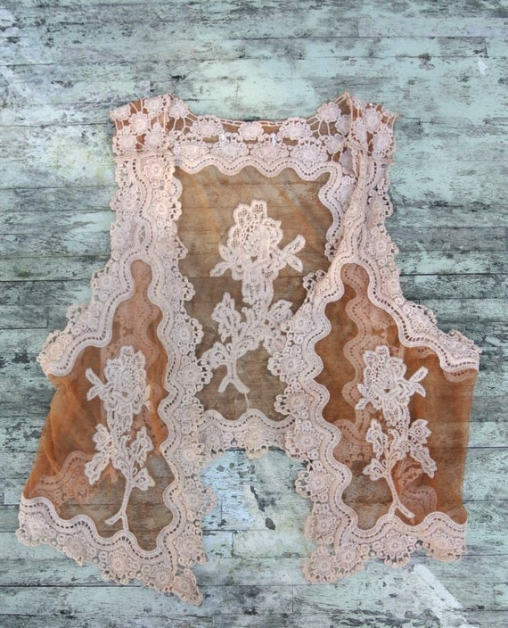 Romantic Gypsy Cowgirl Lace vest, Rustic prairie shrug, coffee brown, cottage chic, country chic, hand dyed, upcycled