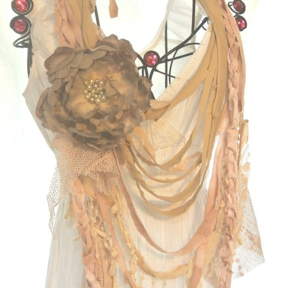 Romantic rag bib necklace, gypsy rose statement necklace, fabric necklace, boho chic jewelry, bohemain necklace, sand, beach