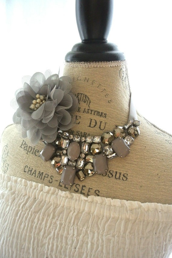 Bridal Bib Necklace, Country chic Statement necklace, Romantic Shabby chic