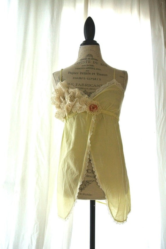 Romantic floral tank top, upcycled womens clothing, cottage cami, yellow shabby shirt, womens clothing