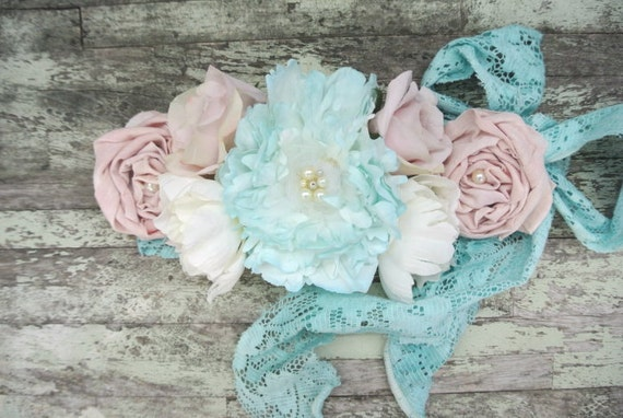 For Crystal, romantic sash, gypsy cowgirl, cottage chic, head wrap