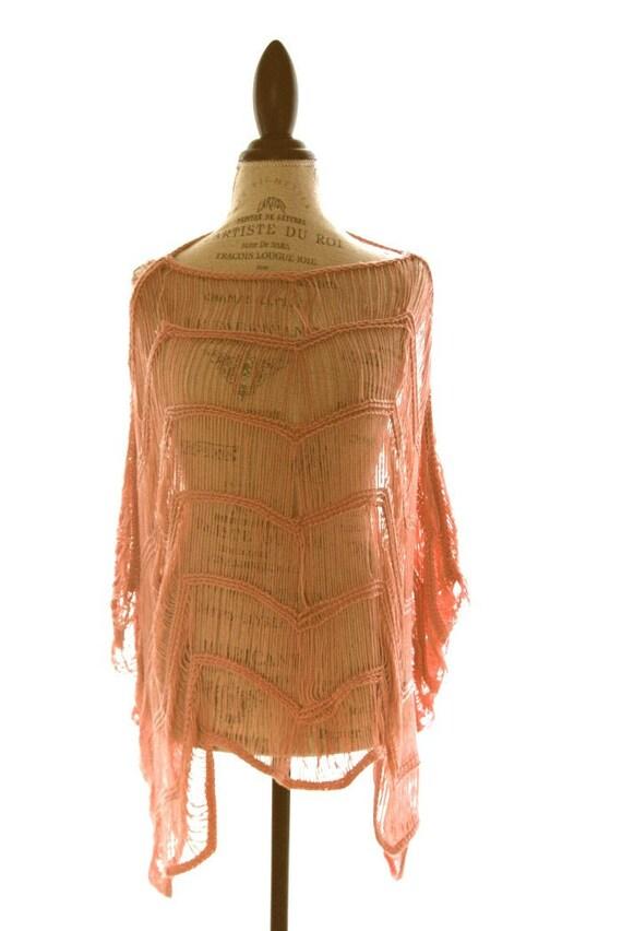 Womens Peach Boho chic Poncho Knitted