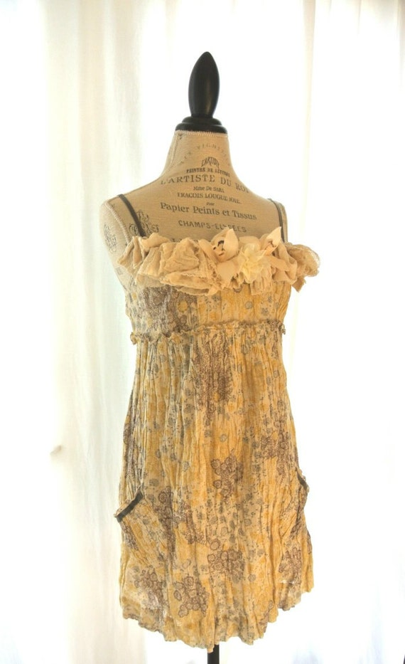 Shabby crinkle dress, rustic country chic, romantic cottage chic, womens clothing, funky, garden party
