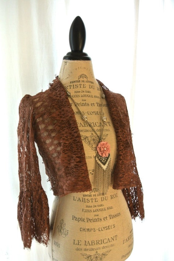 Romantic lace jacket, shabby cardigan, cottage wrap, lace shirt, rustic blazer, gypsy cowgirl, womens clothing