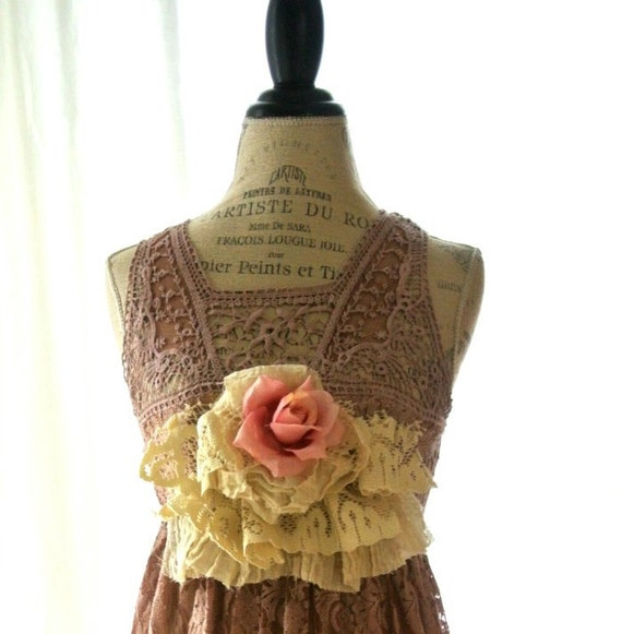 Romantic lace dress, shabby slip dress, womens clothing, cottage chic, gypsy cowgirl glam, rustic