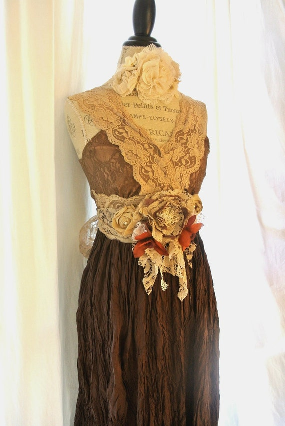 Romantic lace maxi dress, victorian slip dress, gypsy cowgirl sundress, womens clothing, rustic, silk, upcycled