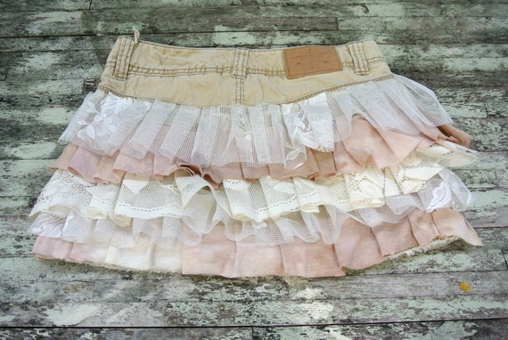 Shabby lace ruffle mini skirt, cottage, upcycled american eagle, bohemian cowboy, gypsy rose, womens clothing,