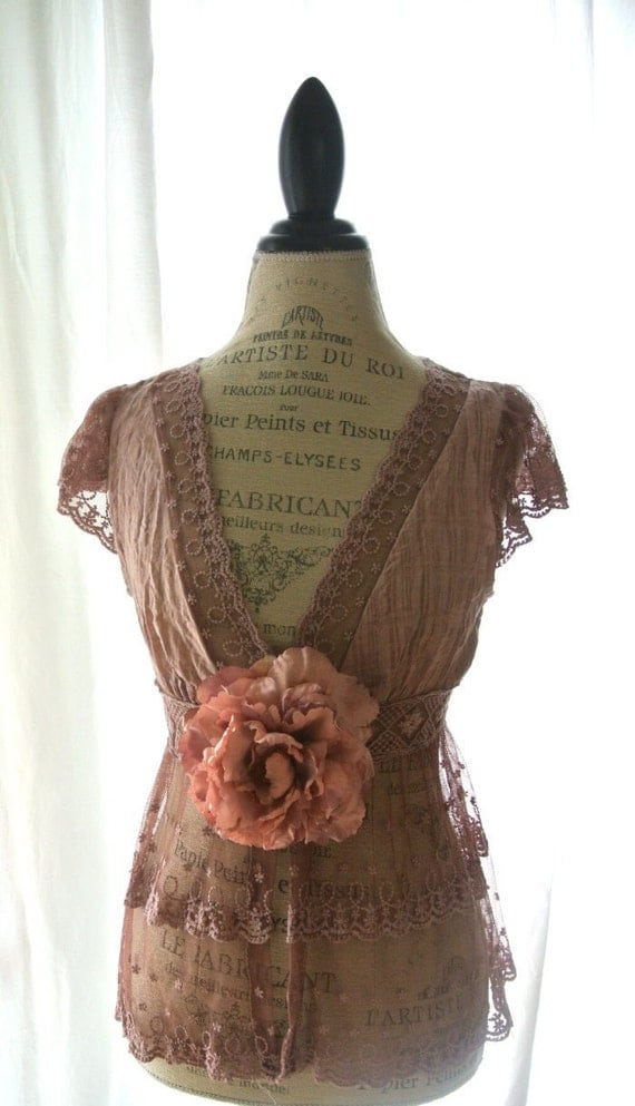 Shabby lace shirt, boho, hand dyed large top, womens clothing, romantic, rustic cottage chic