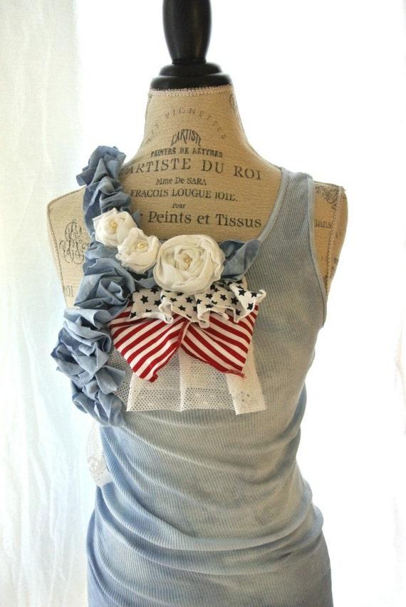 Romantic 4th of july tank tunic, red white blue, beach, boho, womens clothing, true rebel clothing