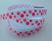 5 Yds 3/8 Inch White with Shades of Pink Flowers Grosgrain Ribbon