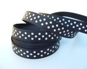 5 Yards 3/8 Inch Black with White Swiss Dots Grosgrain Ribbon