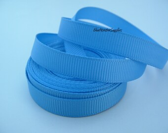 5 Yards 3/8 Inch Capri Blue Grosgrain Ribbon Scrapbooking Hairbows Korkers