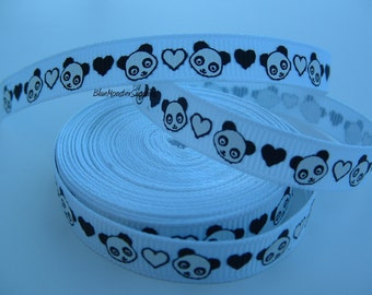 5 Yards 3/8 Inch White Panda Grosgrain Ribbon