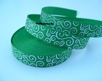 5 Yards 3/8 Inch Emerald with White Loops Grosgrain Ribbon