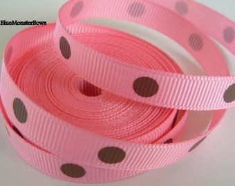 5 Yards 3/8 Inch Pink with Brown Polka Dots Grosgrain Ribbon