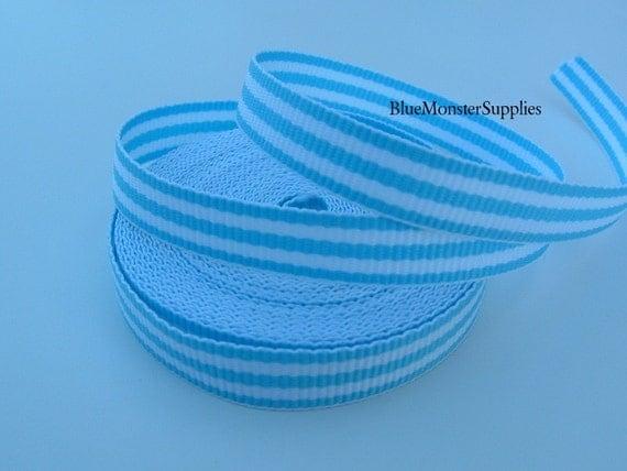 5 Yards 3/8 Inch Blue Stripe Grosgrain Ribbon Hairbows Korkers Scrapbooking