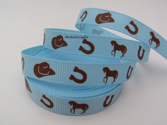 5 Yards 3/8 Inch Blue Western Grosgrain Ribbon Scrapbooking Cards and More