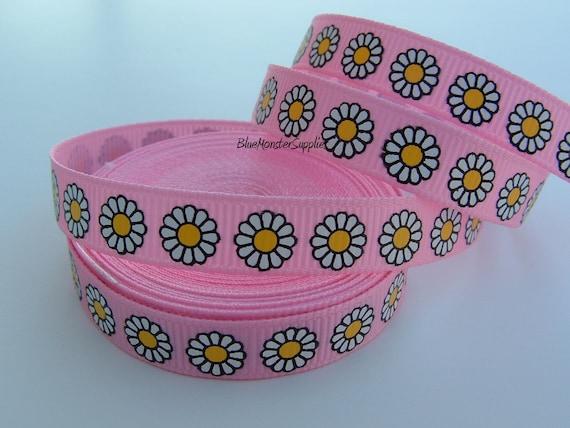 5 Yards 3/8 Inch Pink Daisy Grosgrain Ribbon