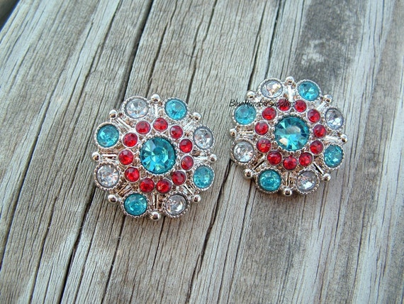 Set of 2 Red and Turquoise Acrylic Rhinestone Buttons Flowers Weddings Proms Hairbows