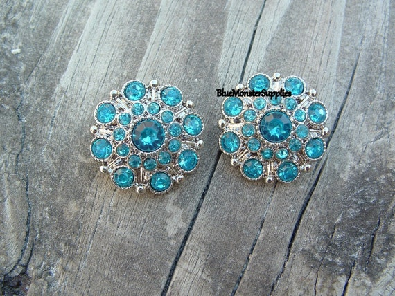 Set of 2 Turquoise Acrylic Rhinestone Buttons Flowers Weddings Proms Hairbows