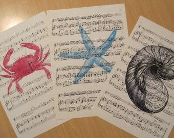 coastal chic sea creatures on vintage sheet music set of 3