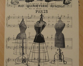 french dress forms shabby chic sheet music
