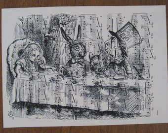 alice in wonderland tea party on vintage sheet music